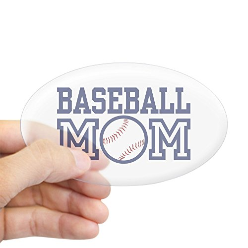CafePress Baseball Mama, ovaler Aufkleber Large - 4.5x7.5 farblos -