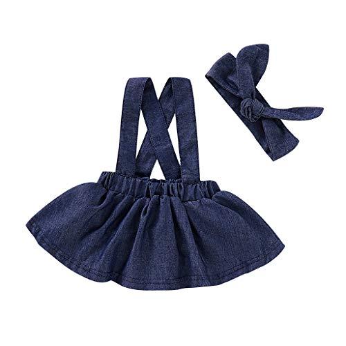 TTLOVE Sommerkleidung Kleinkind Kinder Baby MäDchen HosenträGer Rock Denim Tutu + Stirnband Outfit Sets Kleidung Neu Geboren Girl Sommer Kleid Dress KostüM(Blau,100)