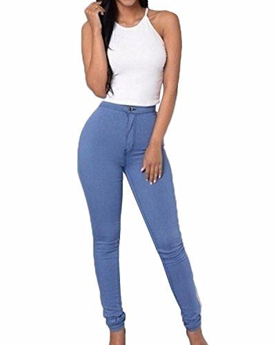 ZANZEA Donne Alta Vita Skinny Aderenti Party Club Elastico Disinvolta Slim Fit Pantaloni Blu IT 34/ASIAN S