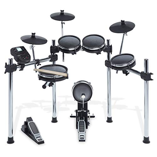 Alesis Surge Mesh Kit, Eight-Piece Electronic Drum Kit with Mesh Heads, Chrome Rack and Surge Drum Module including 40 Kits, 385 sounds 60 Play Along Tracks and USB/MIDI Connectivity