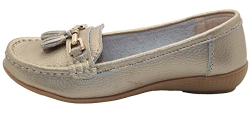 Jo & Joe Damenschuhe aus Leder, flache lässige Damenslipper, bequeme Schuhe mit niedrigem Keilabsatz, Arbeitsschuhe Gold