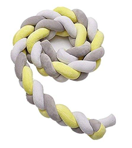 Boheng Nordische einfache Kinder Bett Stoßstange Streifen Kreative geflochtene lange Knoten Knoten Ball Kissen 1pcs (Weiß grau gelb) (Krippe Grau Gelb Bettwäsche)
