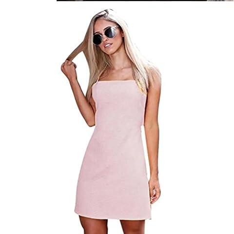 DAYLIN Women Sundress Backless Beach Bow Casual Sexy Dress Slim Fit Bodycon (XL)