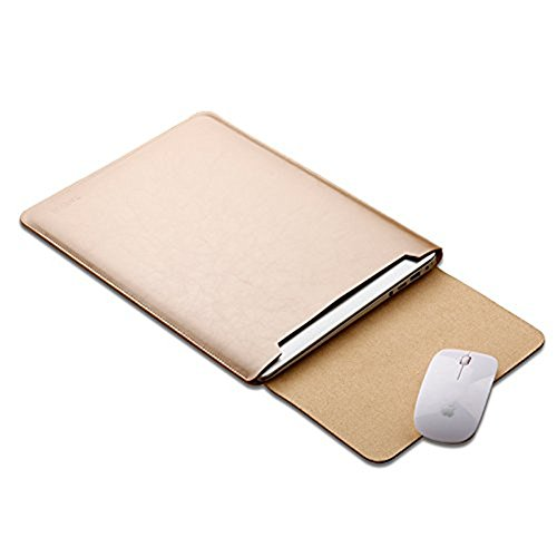 "Preisvergleich Produktbild Macbook 12"" Mikrofaser Leder Laptop Sleeve Slim Case Cover Luxus PU Ledertasche Elagant Schutzhülle integriert Mousepad f. (Macbook 12"", Luxus gold)"