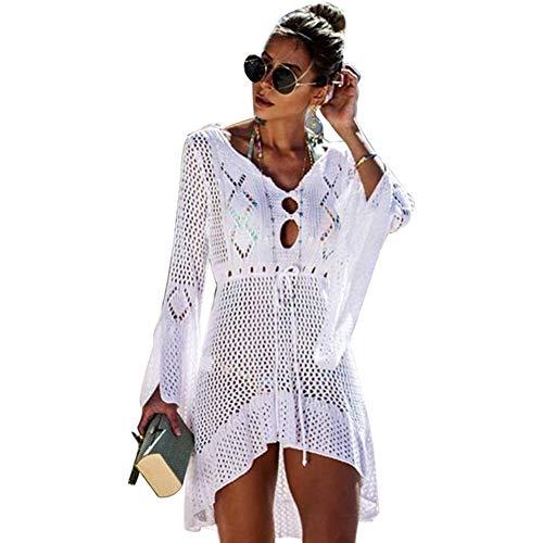 Haobing Frauen Elegant Crochet Stricken Bikini Cover Up Boho Flare Langarm Strandponcho Tunika Oberteil Strandkleid (Weiß, CN M) (Langarm Crochet Cover-up)