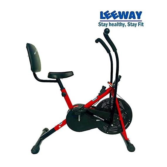 Leeway Stamina Air Bike with Back Support| Exercise Cycle| Air Bike| Moving Handle Gym Bike| Deluxe Design Lifeline for Cardio Fitness Work Out| Cross fit Equipment| Dual Action with Back Support RED
