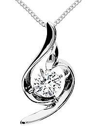 MYA art Damen Halskette Kette 925 Sterling Silber Tropfen Anhänger  Chandelier mit Swarovski Elements Strass Kristall Weiß Collier… 138650a1fa