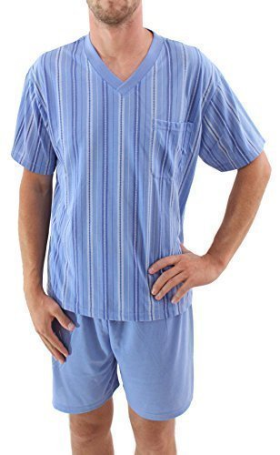 Herrenschlafanzug kurz Shorty Pyjama Baumwolle Hellblau