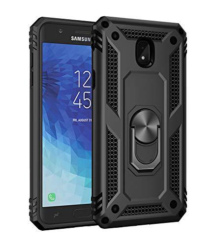 Hülle Kompatibel Samsung Galaxy J7 2018 Handyhülle,360 Grad Drehbar Ringhalter Cover Silicone Magnetische Auto Halterung Schutzhülle Stoßdämpfung Bumper Case für Galaxy J7 2018 (Schwarz)