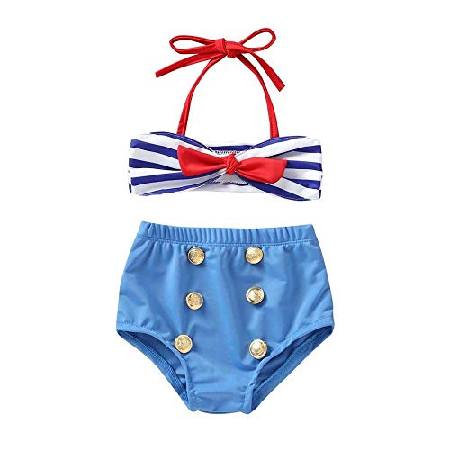rumiao 1-5Years 2Pcs Infant Kids Baby Mädchen Bademode Bow Striped Straps Badeanzug Bikini Set Outfits,Blue-12-18Months - 12mo-outfit