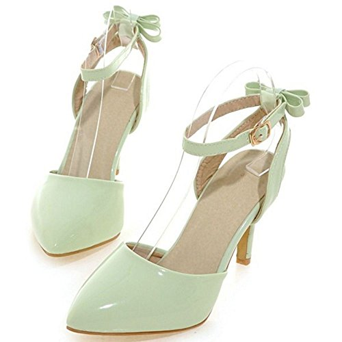 COOLCEPT Damen Mode Knochelriemchen Sandalen Stiletto Geschlossene Slingback Schuhe Mit Bogen Gr Grun