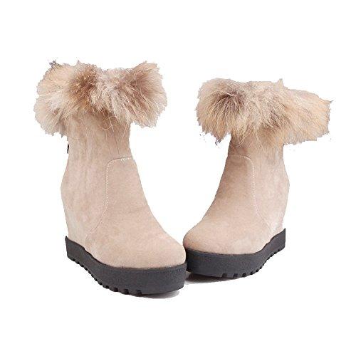 VogueZone009 Damen Gemischte Farbe Hoher Absatz Mattglasbirne Ziehen Auf Stiefel Cremefarben