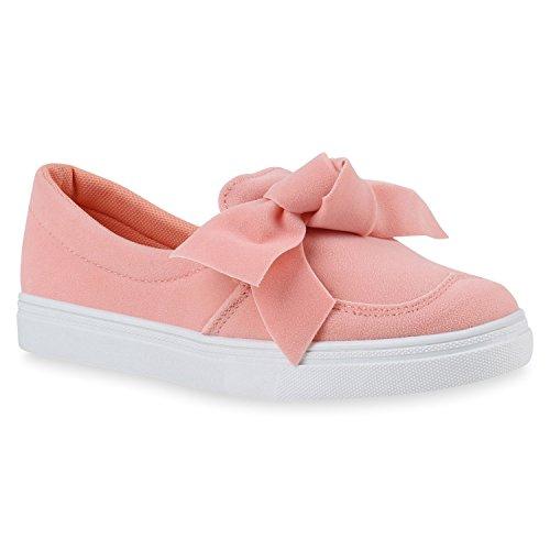 Bequeme Damen Slipper Sneaker Slip-Ons Leder-Optik Metallic Schleifen Flats Denim Velours Schuhe 142485 Rosa Weiss Schleife 40 | Flandell® (Slip-on Damen Leder Schuh)