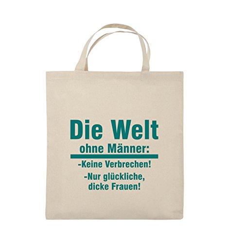 Comedy Bags - Die Welt ohne Männer - keine Verbrechen nur dicke Frauen - Jutebeutel - kurze Henkel - 38x42cm - Farbe: Schwarz / Pink Natural / Türkis