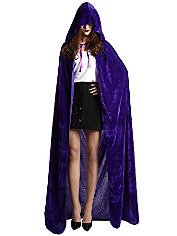 Satinior Unisex Full Length Hooded Cloak Adult Velvet Cape Halloween Party Cosplay Costume Cloak (L Size,