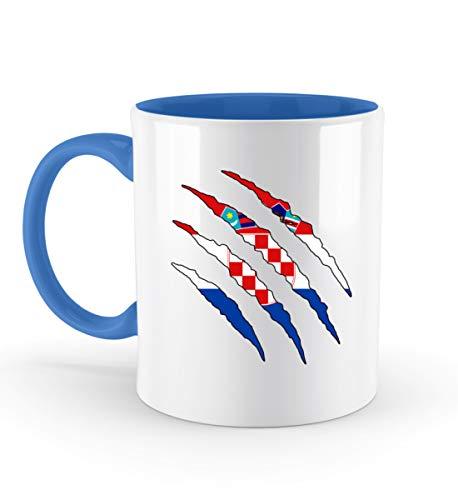 PlimPlom Kroatien Tasse Land Flagge Design Kaffeetasse Spaßgeschenk Spruch Geschenk Idee - Zweifarbige Tasse -330ml-Blau