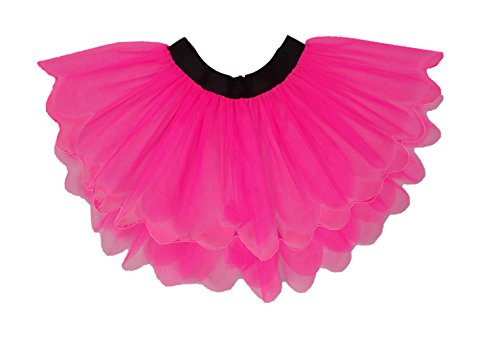 8 Layer Neon Pink Tutu Skirt Deluxe Petal Shape One Size 16'' Length Plus Size 18'' Length UV (Small UK 4-8)