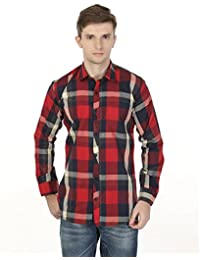 eoigE™ Red & Black Full Sleeves Men's Shirt