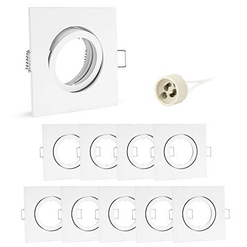 10x linovum® Einbaustrahler Rahmen Set schwenkbar eckig weiß inkl. GU10 Fassung für LED oder Halogen