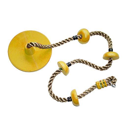 QVIVI Schaukeln Kinder Seile Klettergerüst Kindersport Spiele Spielzeug Bottom Big Disc Swings Gelb