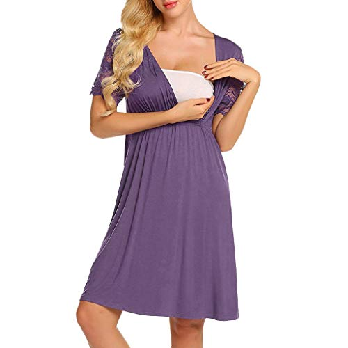 VWTTV Schwangere stillen Multifunktions-Pyjamas V-Ausschnitt Schwangerschaftskleid Mutterschaftskleid mit Nähten (Damen Zivil-kleidung)