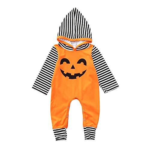 Riou Kinder Langarm Halloween Kostüm Top Set Baby Kleidung Set Kleinkind Kleinkind-Säuglings-Baby-Mädchen-Jungen-mit Kapuze Spielanzug-Overall-Halloween-Kostüm-Ausstattungen (80, Orange)