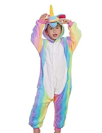 Pyjama Enfants Unisexe Animaux Pyjama Combinaison de Nuit Kigurumi Noel Halloween Cosplay Costume (S (Height 95-105cm), Arc-en-ciel-1)
