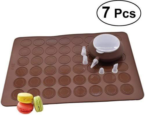 OUNONA Kit de forma posterior Macaron de 48 capacidades Bandeja para hornear con dispensador de masa Herramienta para hornear de bricolaje