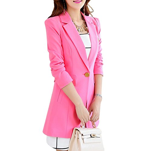 Aisuper - Chaqueta de traje - Manga Larga - para mujer rosa rosa XL