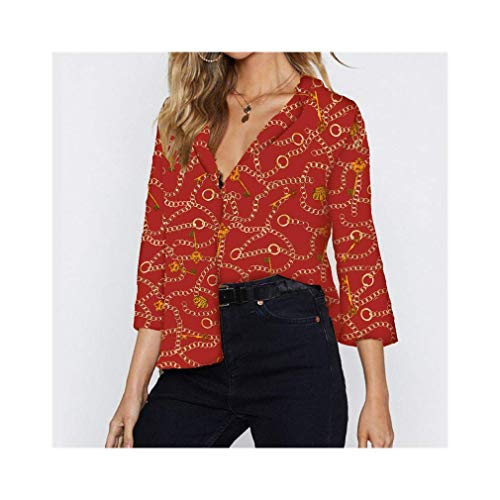 Women Chain Print Chiffon Blouse Turn Down Collar Office Shirts Loose Casual Tops -