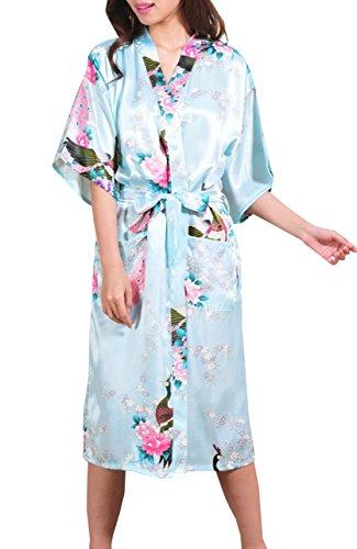 DELEY Damen Morgenmantel Mit Taschen Kimono Robe aus Satin Nachtwäsche Negligee Pfau & Blüten Lang Bademantel Hellblau
