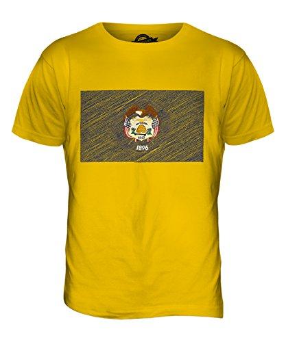 CandyMix Bundesstaat Utah Kritzelte Flagge Herren T Shirt Dunkelgelb