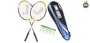Jaspo Core-JS-400(2Badminton Rackets; 5 Feather Shuttlecock:1 Badminton Carry Bag)(Multi Color)