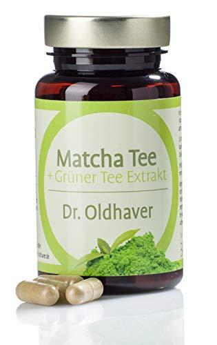Dr. Oldhaver Matcha Tee + Grüntee Extrakt Kapseln | Hochwertige Grüner Tee Kapseln mit Vitamin B2 (Riboflavin) | Made in Germany | 120 Kapseln - Hohe Antioxidative Grünen Tee
