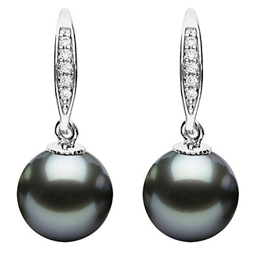 Mya art® | Orecchini da donna con pendente di perle, strass con zirconi, argento placcato in oro, antracite | Myawgohr-75