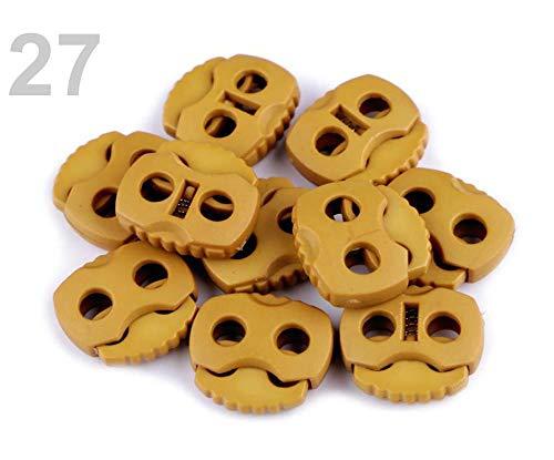 10stück 27 Senf-braun Dunkel Kordelstopper Mit Zwei Löchern 20x20mm, Und Endstücke, Kurzwaren Aus Kunststoff -