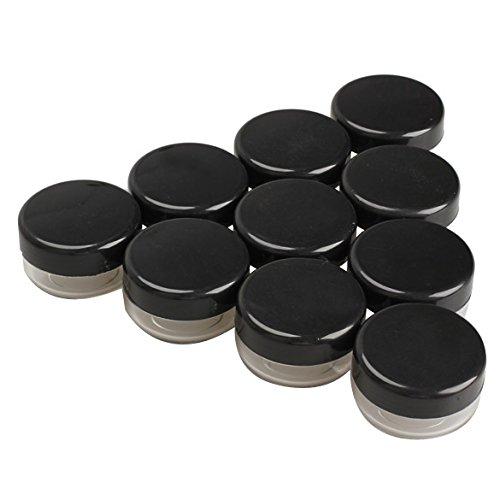 tenflyer 10Stück Kunststoff Leere Box Nail Art Kosmetik Bead Gems Aufbewahrung Fall Flasche Topf, schwarz, for 10g -