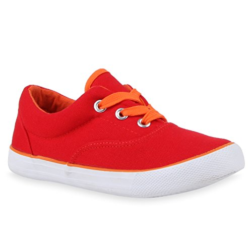 Kinder Sneakers Low Neon Turnschuhe Stoffschuhe Flats Rot