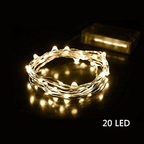 Syhonic Fairy Lights, Syhonic 2M 20 LEDs Battery Powered Silver Wire String Lights Waterproof Starry Fairy Lights Indoor Outdoor Lighting for Bedroom Garden Jars Camping Wedding Party Festival Christmas Tree