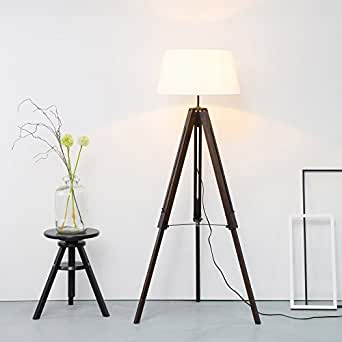 stativ stehleuchte mit textilschirm tripod dreibein aus. Black Bedroom Furniture Sets. Home Design Ideas