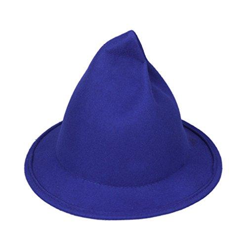Smile YKK Chapeau Pointu de Sorcière Feutre Décoration Halloween Magicien Classique Bleu