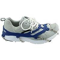 KaLaiXing marca 10denti Claws ramponi antiscivolo scarpe, in acciaio inox catena Outdoor Sci Ghiaccio Neve Escursioni Arrampicata, colore: blu