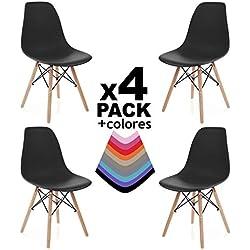 duehome Nordik - Pack 4 sillas, silla de comedor, salon, cocina o escritorio, patas madera de Haya, dimensiones: 47 x 56 x 81 cm de altura (Negro)