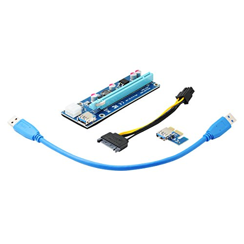 QUMOX PCI-E 1x bis 16x Powered USB 3.0 Extender Riser Adapter Karte Mining Bitcoin Litecoin Ethereum (Zufällige Farbe PCI-E-Steckplatz)
