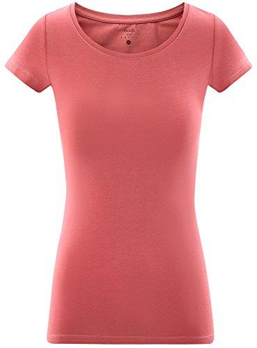 oodji Ultra Donna T-Shirt Basic Aderente Rosa (4A00N)