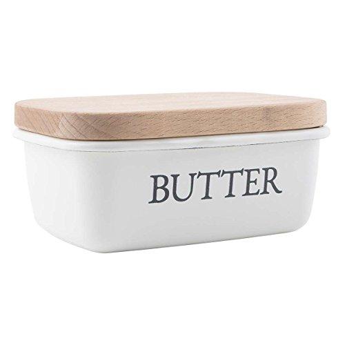 Ib Laursen - Butterdose 'Butter' aus Emaille und Holz (0496-11)