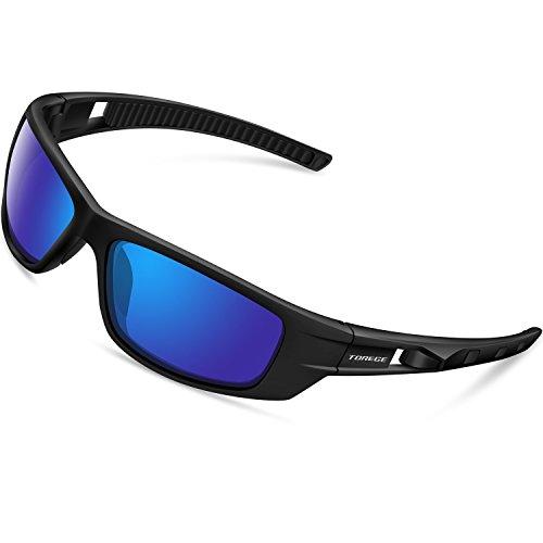 f944bce48e6 Torege Sports Sunglasses Polarized Glasses For Man Women Cycling Running  Fishing Golf TR040 (Black Black Blue Lens