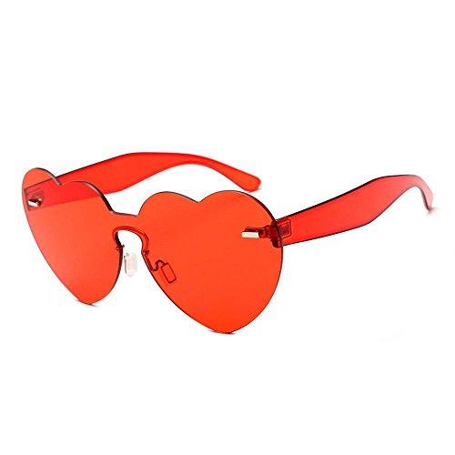 Aolvo Herz-Sonnenbrille, randlos, 2018, in Herzform, Transparent, für Mädchen, Damen, Herren, rot