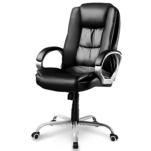 Merax® Chefsessel Leder Bürostuhl Schwarz Bürodrehstuhl Bürosessel Profi-Bürostuhl Schreibtischstuhl, Lederimitat PU, 78 x 71 x 108-118cm