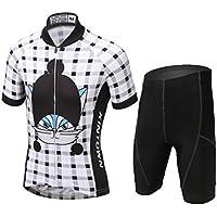 YFPICO Niños Niñas Conjuntos Maillots de Bicicleta Top de Manga Corta + Pantalones Traje de Ciclismo, Blanco + Negro #2, 116